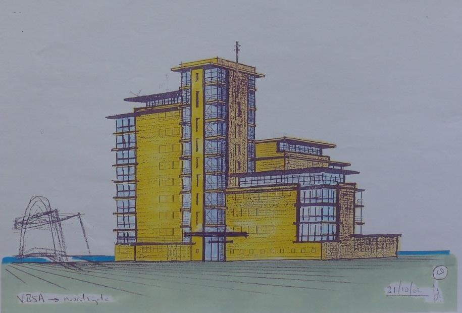 Schetsontwerp voor de Vliettoren, Sijtwende, Voorburg.
